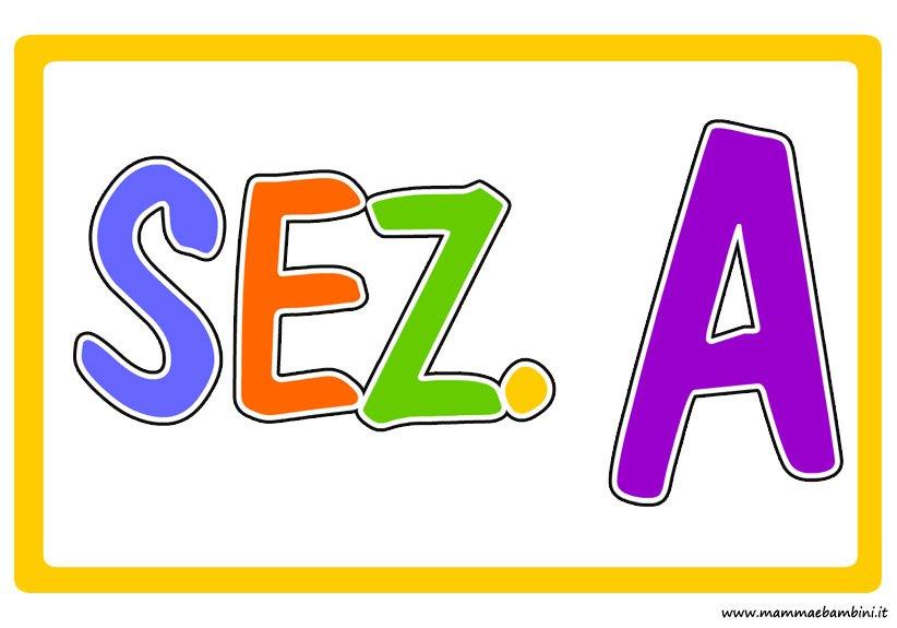 Cartello sezione aula colorato mamma e bambini for Cartelli per la porta dell aula da stampare