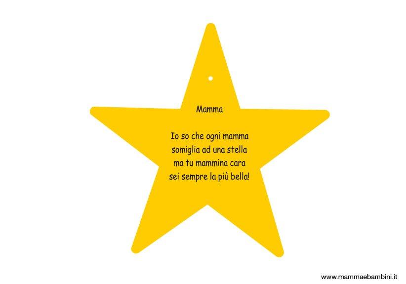 Biglietto a stella con frase sulla mamma