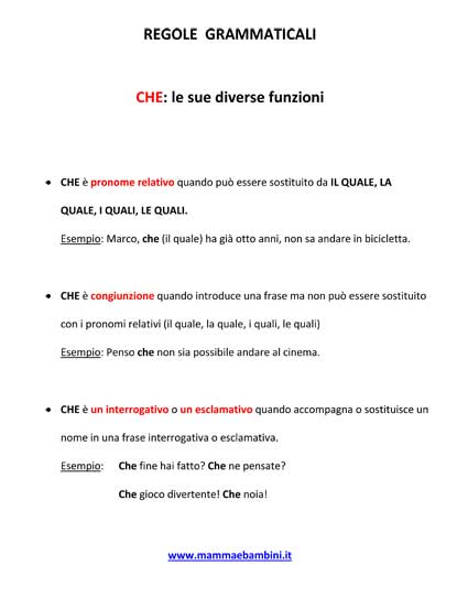 Grammatica : le diverse funzioni di CHE