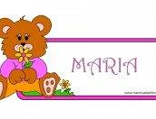 Targa con nome Maria da stampare e colorare