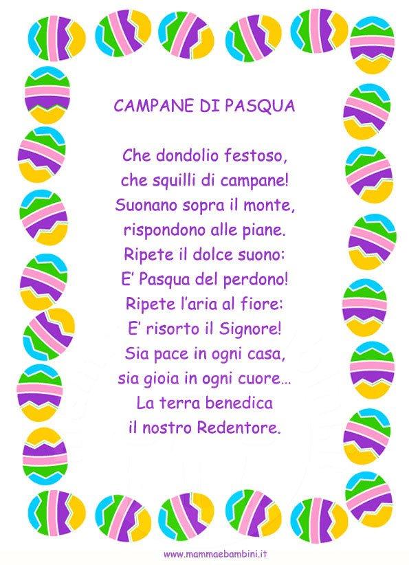 Poesia Campane di Pasqua in cornice