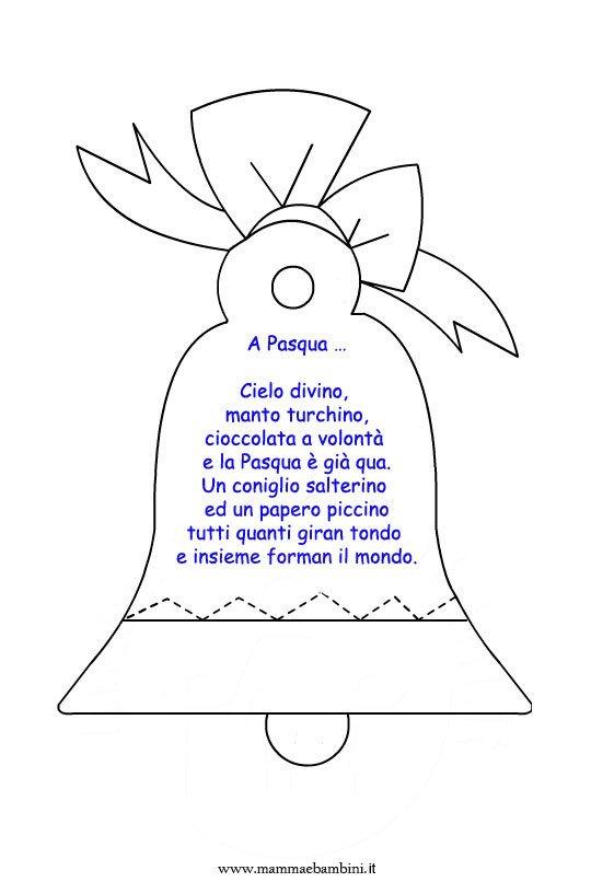 Poesia A Pasqua con disegno campana