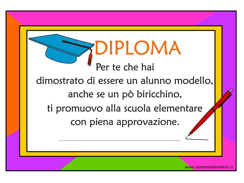 Diploma fine anno per bambini