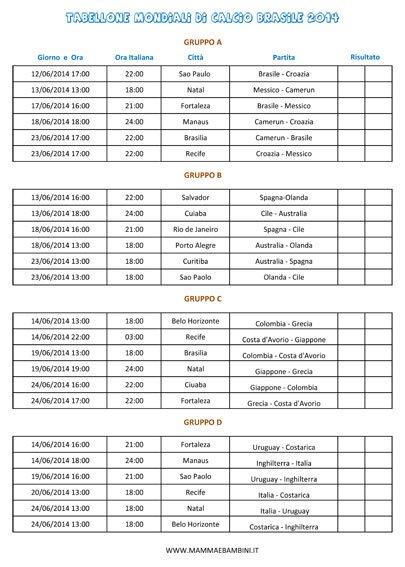 Mondiali Calendario.Calendario Mondiali Di Calcio 2014 Mamma E Bambini