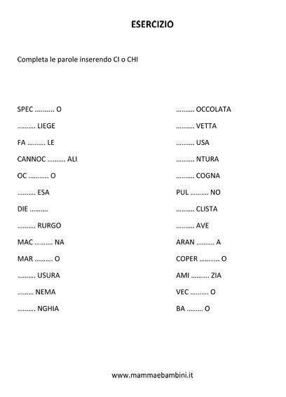 Esercizio sulle parole con CI e CHI