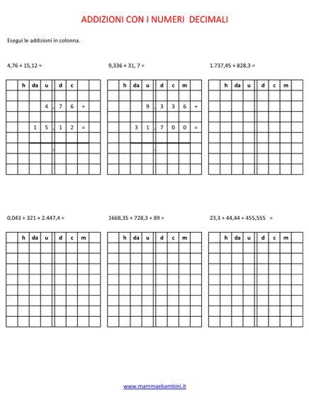 Operazioni sulle addizioni con i numeri decimali