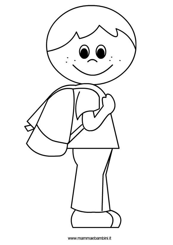 Disegno Bambino Da Colorare.Bambino Con Zaino Da Colorare Mamma E Bambini