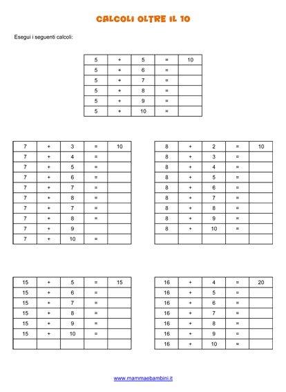 Esercizi con calcoli oltre il 10