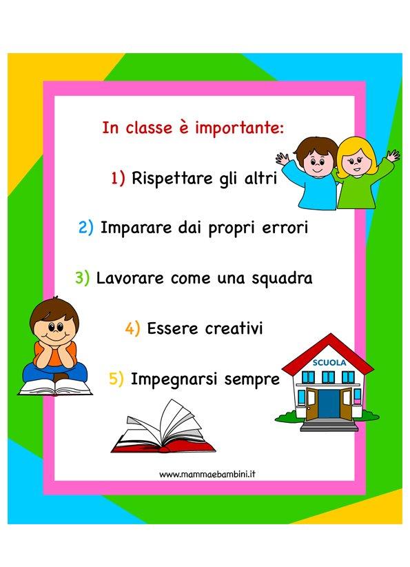 Le buone regole da seguire a scuola a colori