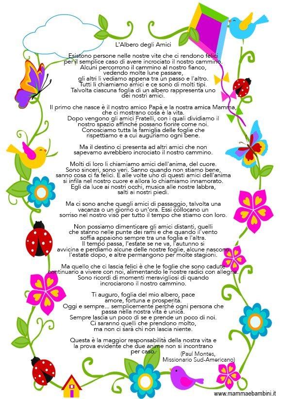 Poesia Sull Amicizia Con Cornice Da Stampare Mamma E Bambini