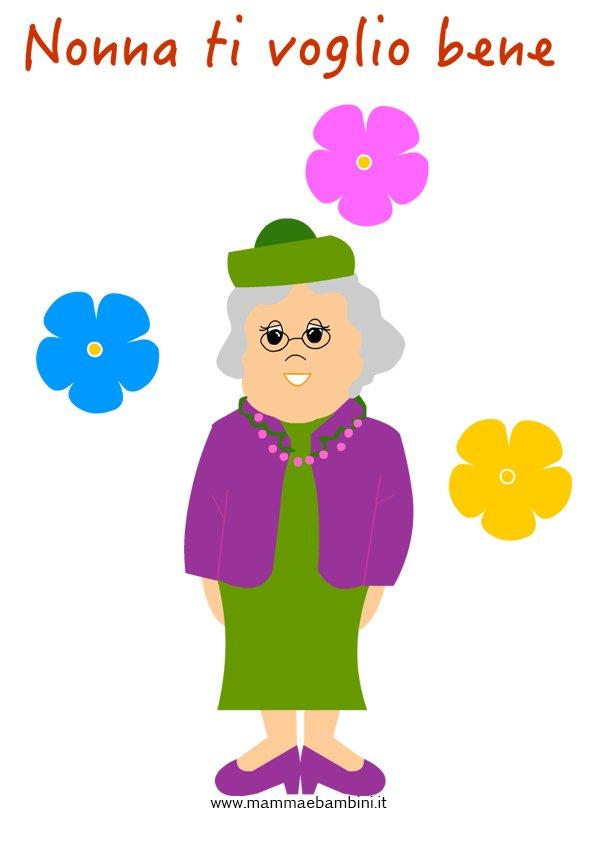 Disegno nonna con cappellino da stampare