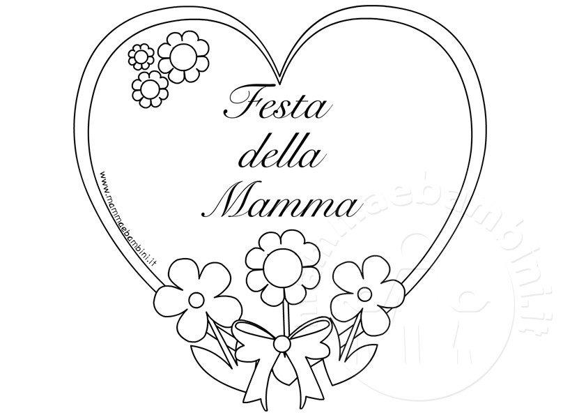 Festa Della Mamma Biglietto Da Colorare Mamma E Bambini