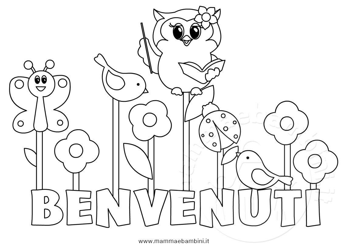 Disegno da colorare per accoglienza scuola mamma e bambini - Lettere animali da stampare ...