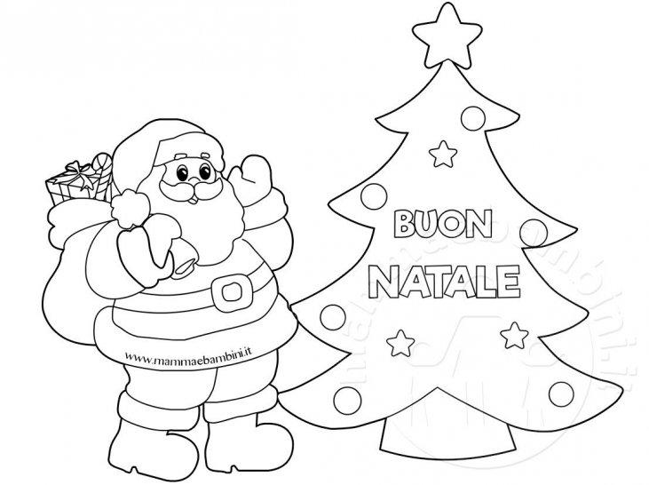 Immagini Natale Da Colorare.Disegno Albero Con Babbo Natale Da Colorare Mamma E Bambini