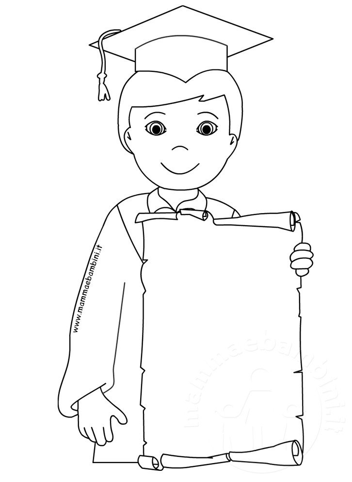 Disegno Bambino Con Diploma Da Stampare E Colorare Mamma E Bambini