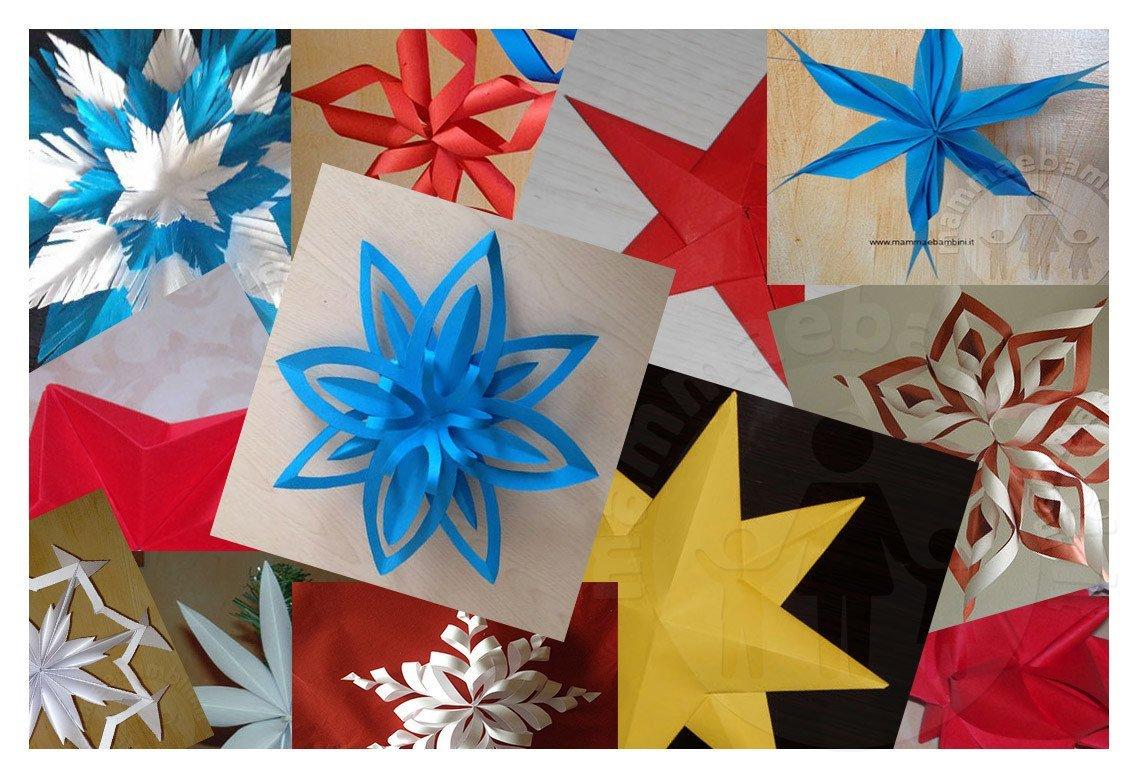Fiocchi Di Neve Di Carta Facili : Decorazioni natalizie a forma di stella e fiocco di neve
