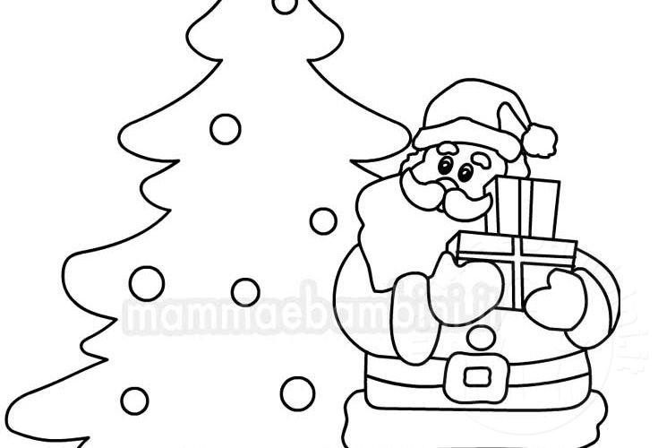 Immagini Da Stampare Babbo Natale.Babbo Natale Con Albero Da Colorare Mamma E Bambini