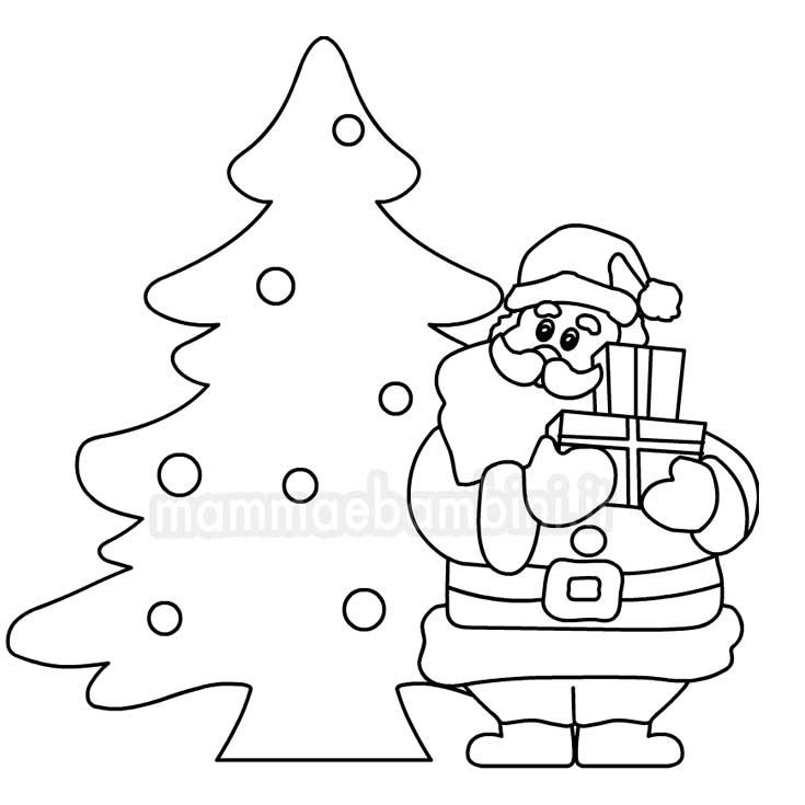 Babbo Natale con albero da colorare