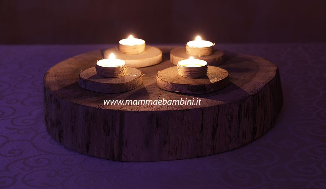 Centrotavola con disco tronco e candele