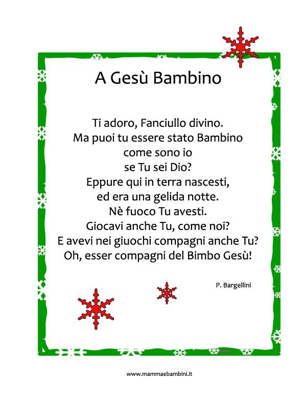 Poesie Di Natale Facili.Poesia Sul Natale A Gesu Bambino Mamma E Bambini