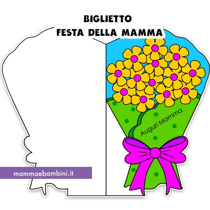 Biglietto festa della mamma a forma bouquet